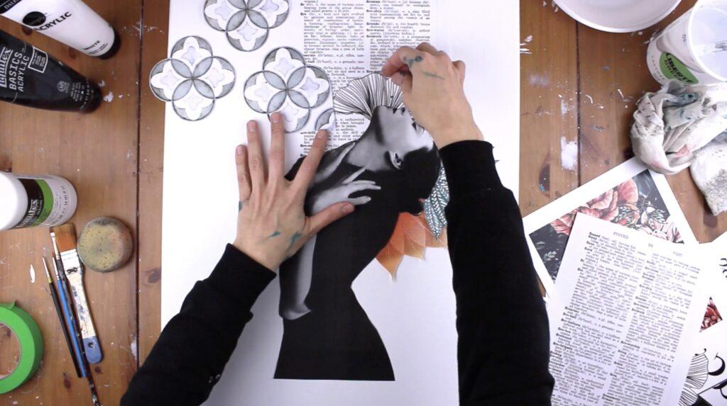 collage artistique disposer les images sur la toile
