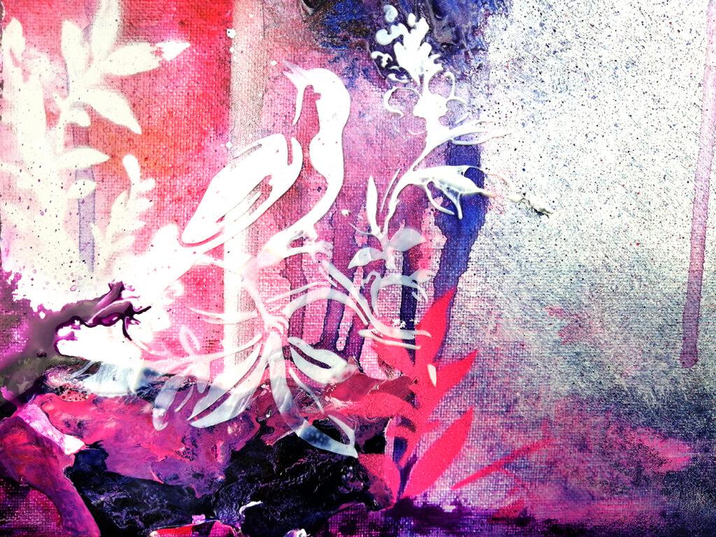 peinture acrylique, texture de medium de lissage et peinture fluide high flow