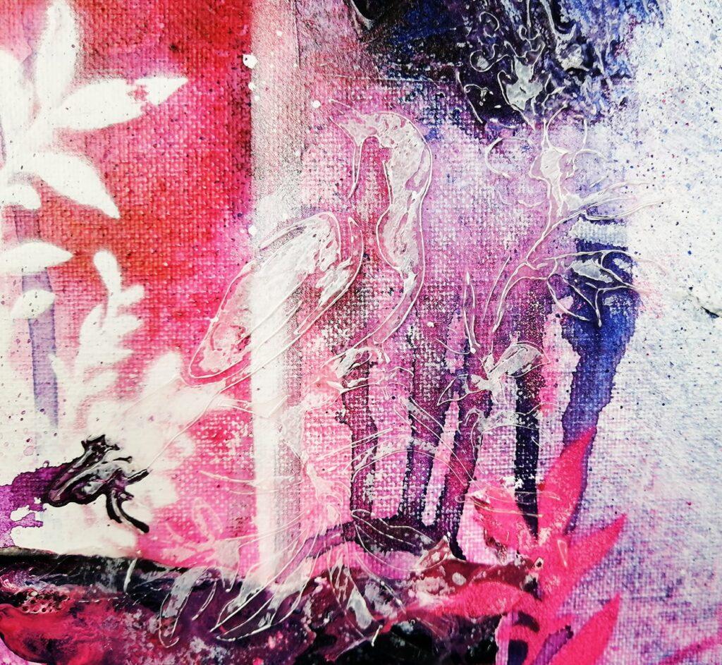 peinture high flow avec texture de gel médium épais