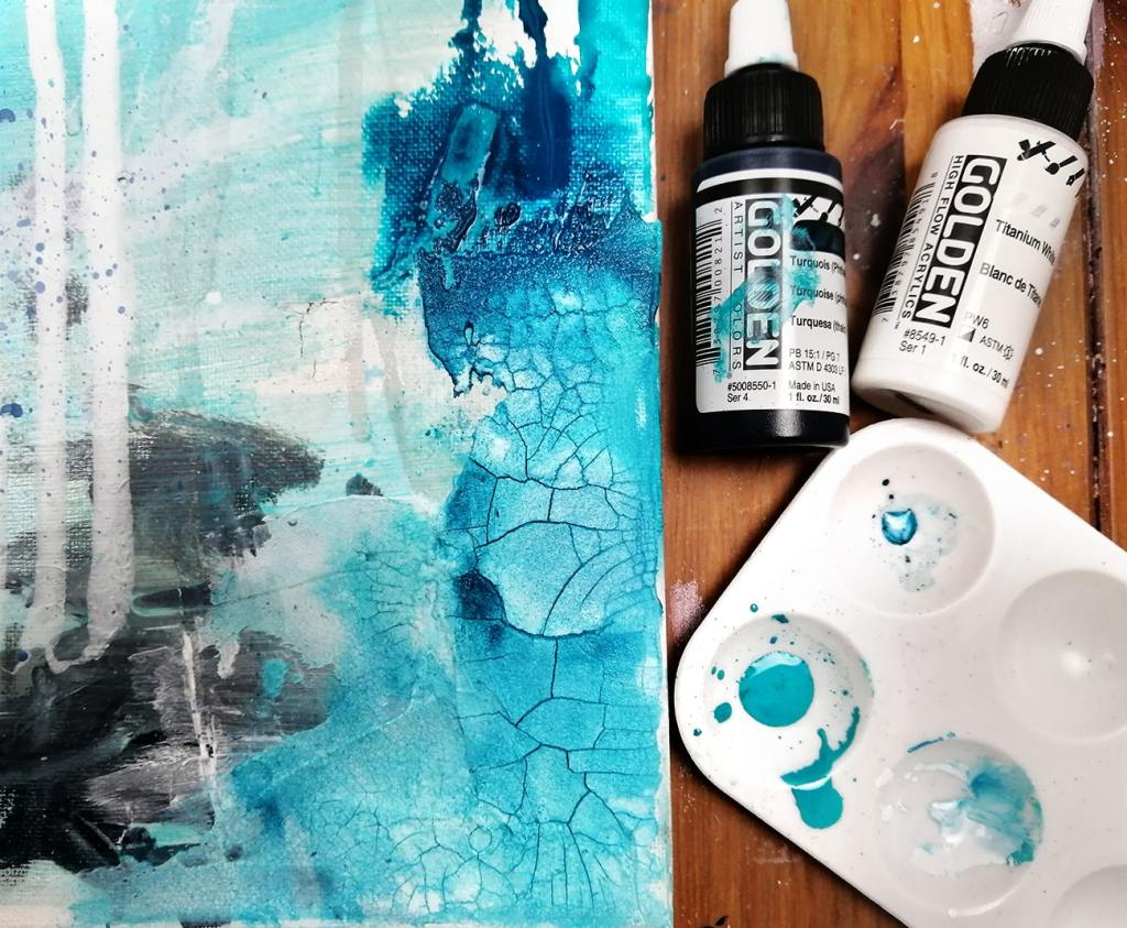 crackle paste tutorial with Golden high flow acrylic painting