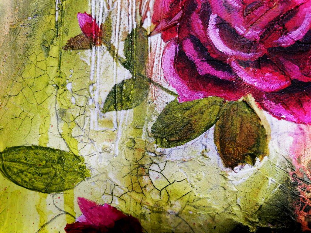Peinture acrylique fluide de fleurs avec craquelure et techniques mixtes