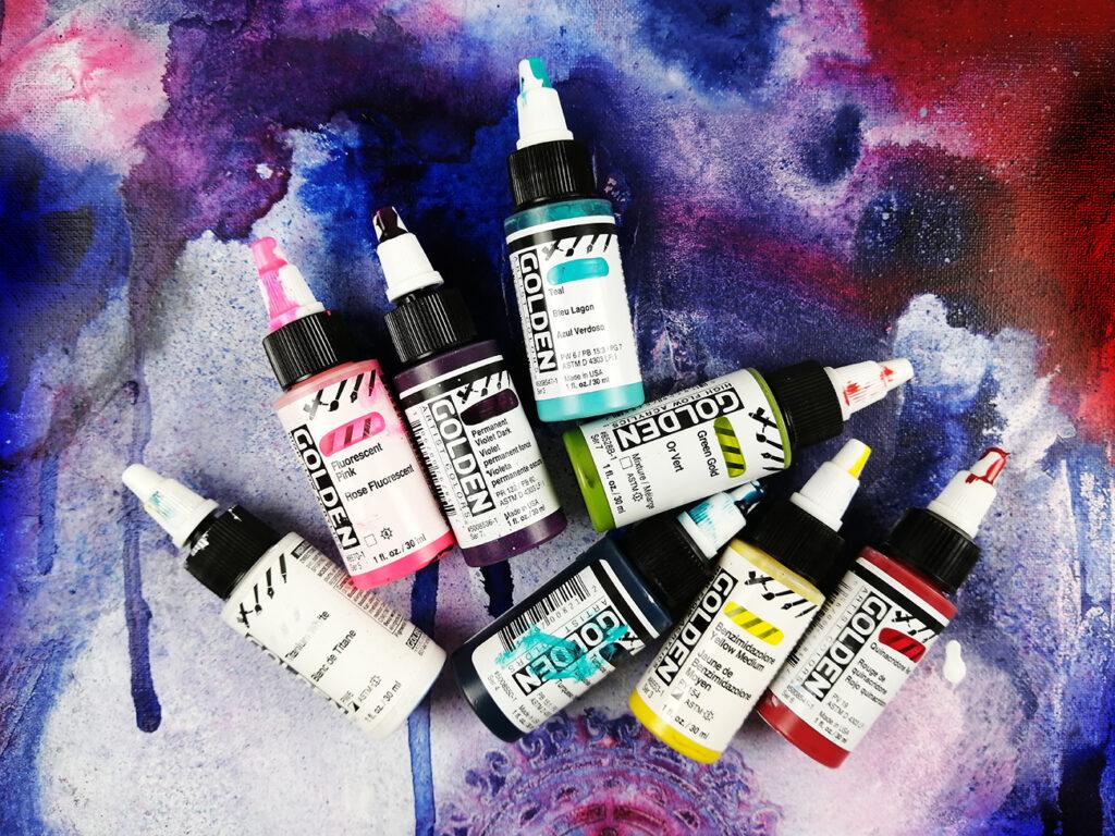 Peinture fluide acrylique high flow de différentes couleurs