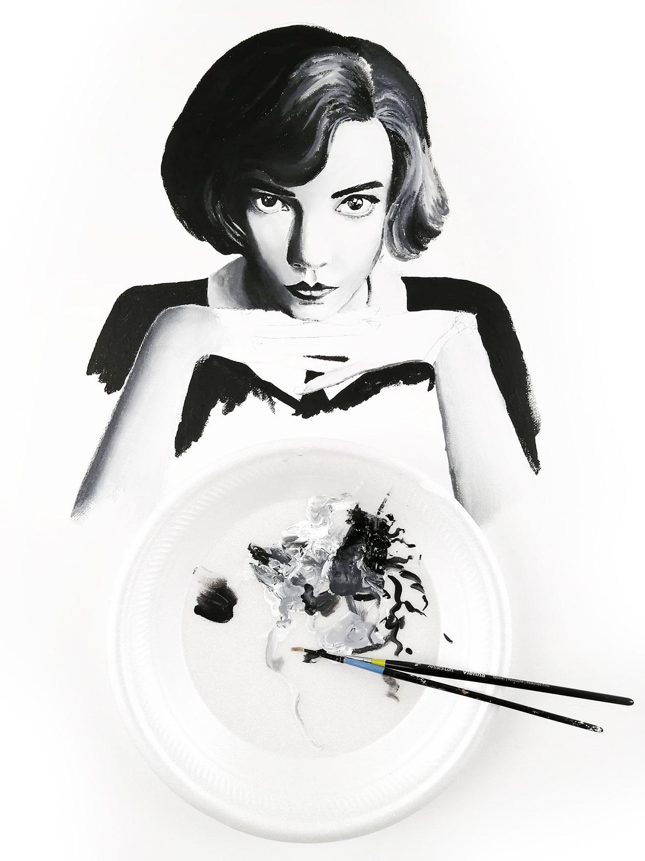 application de peinture acrylique noir et blanc
