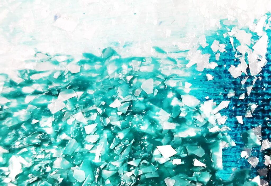 gel de texture à effet flocons blancs de Liquitex, mélangé avec de la peinture acrylique