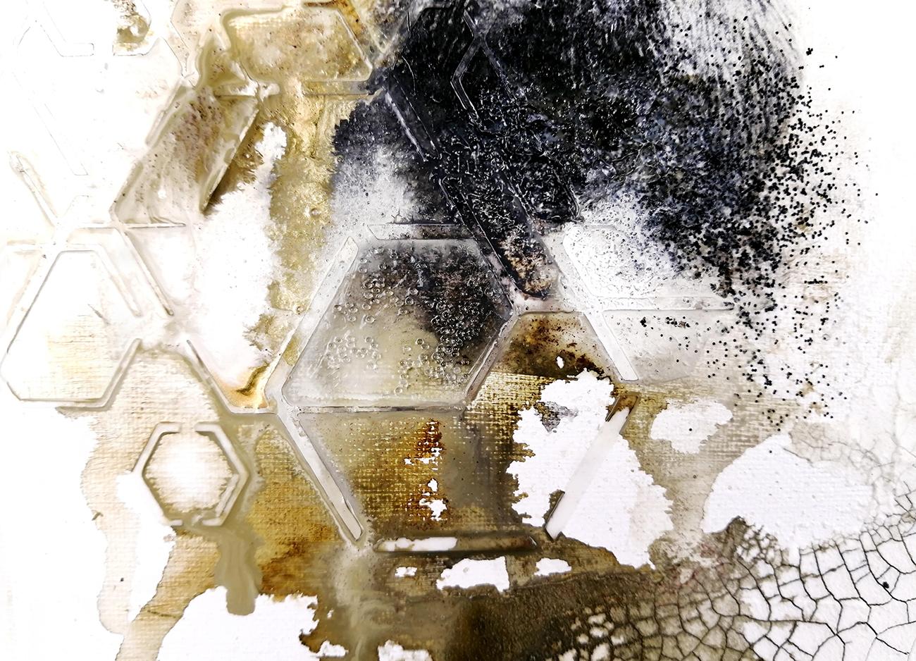 texture peinture et médium acrylique techniques mixtes