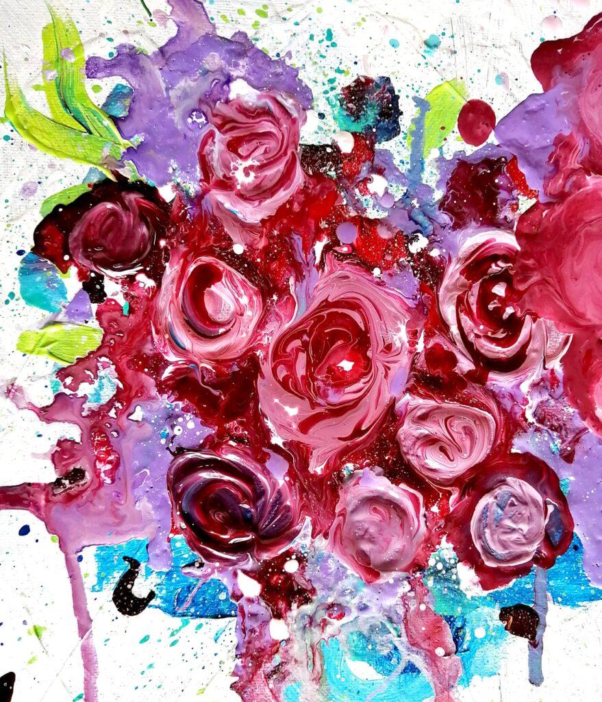 fleurs réalisées avec du médium de lissage aussi connu sous le nom de pouring medium