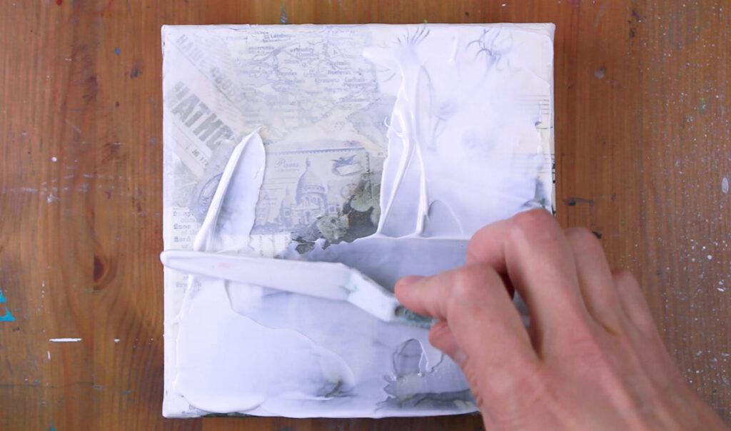 deuxième couche de gel médium pour un effet faux encaustique