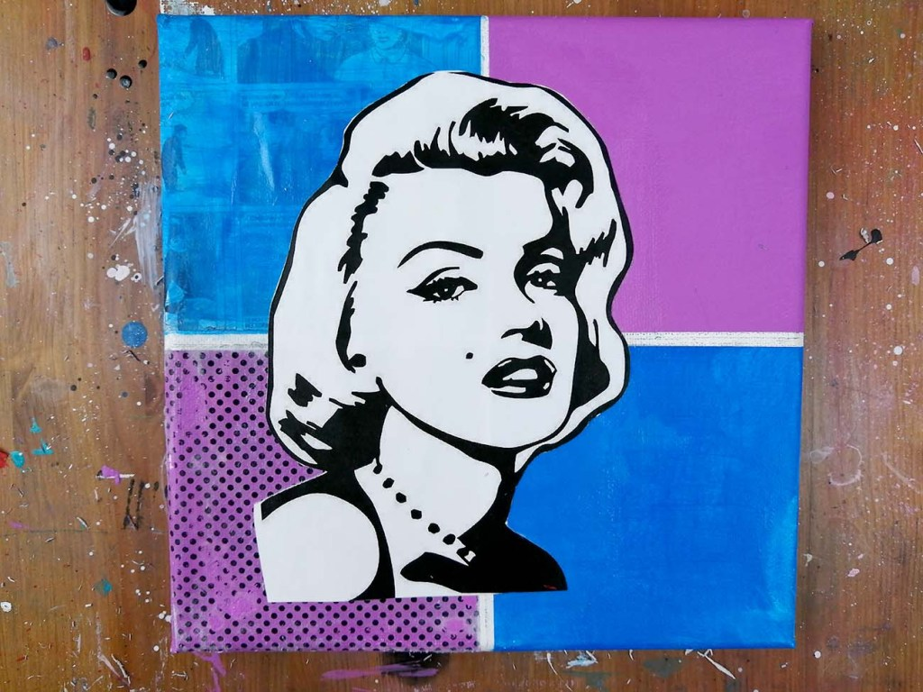 collage pop art avec image de marylin monroe