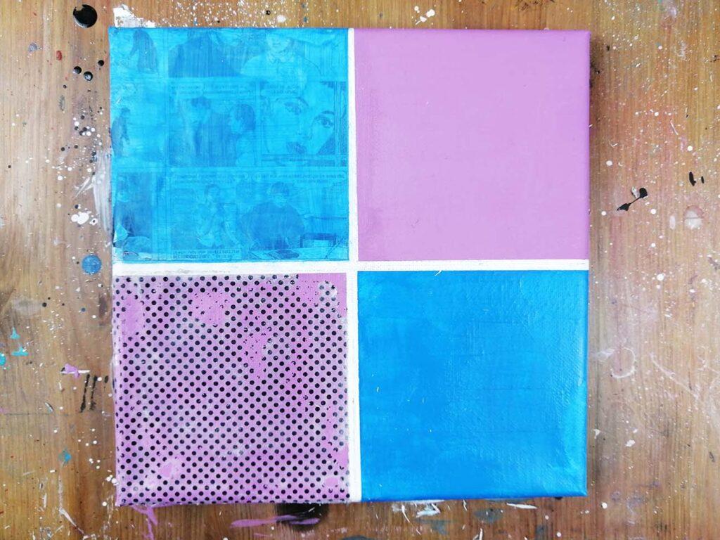 transfert d'image sur peinture acrylique collage pop art