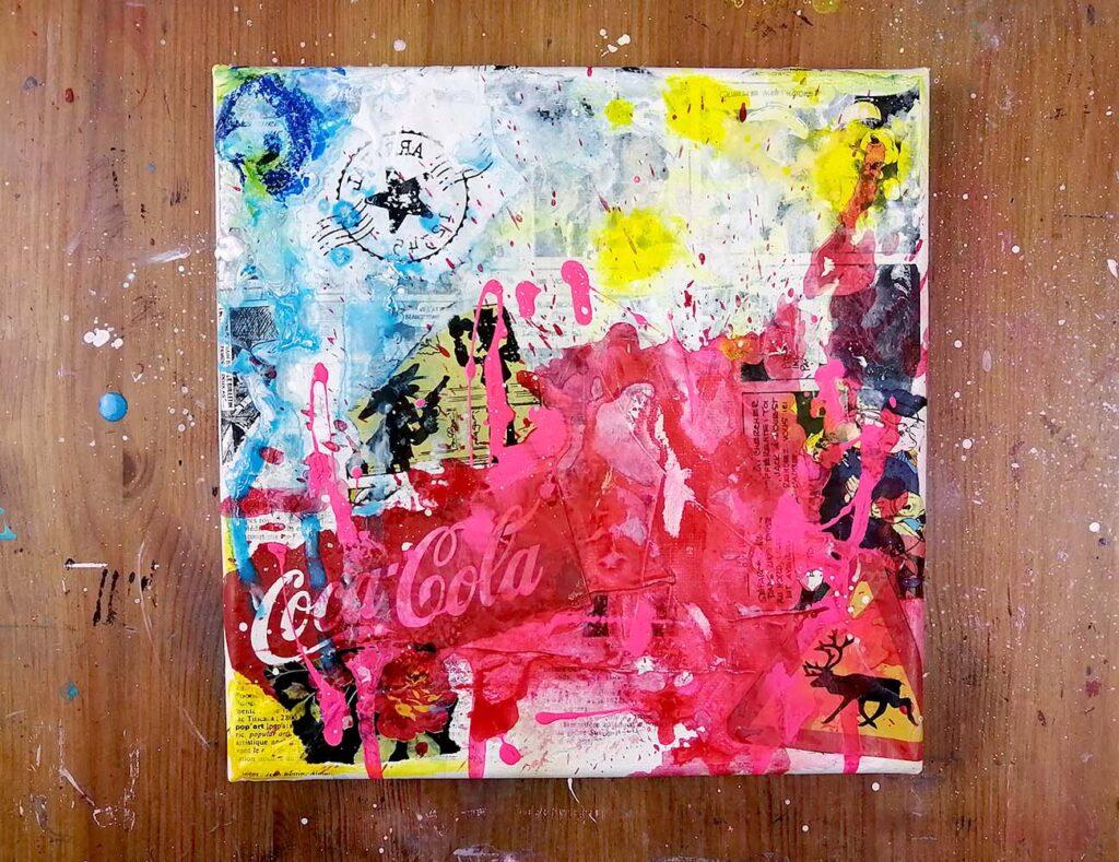 fond street art collage et éclaboussure de peinture